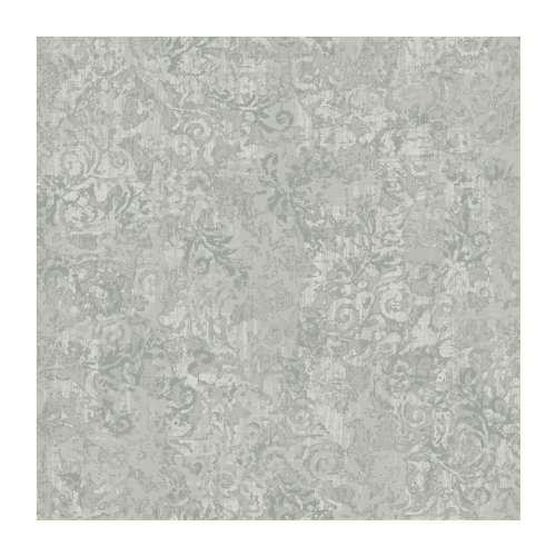 York Wallcoverings KC1870SMP French Dressing Layered Scroll 8-Inch x 10-Inch Wallpaper Memo Sample, Light Gray/Deep Gray/Off White