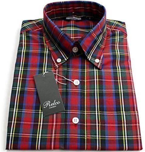 Relco - camisa para hombre Stewart y cuadriculado alpsbrkfst 100% algodón Button Down cuello de camisa: Amazon.es: Ropa y accesorios
