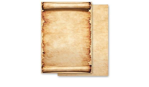 Papel de carta - Hojas estampadas PERGAMINO 100 hojas DIN A6 ...