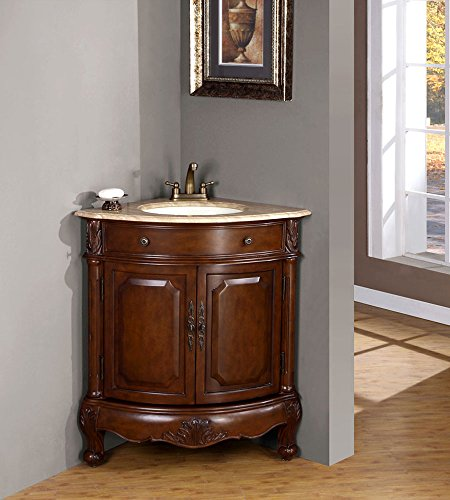 "Silkroad Exclusive LTP-0126B-T-UWC-32 Travertine Stone Top Single White Corner Sink Bathroom Vanity with Cabinet, 32"", Cherry"