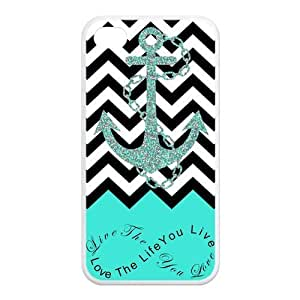 iPhone 4/4s Case - Live the Life You Love, Love the Life You Live Chevron with Anchor Apple iPhone 4/4s Designer Rubber (TPU) Case Protector - Turquoise