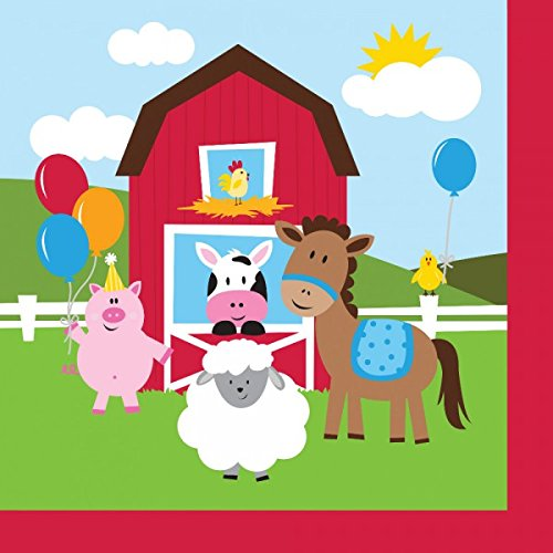 Farmhouse Fun Luncheon Napkin (16) Farm Animal Barnyard Party