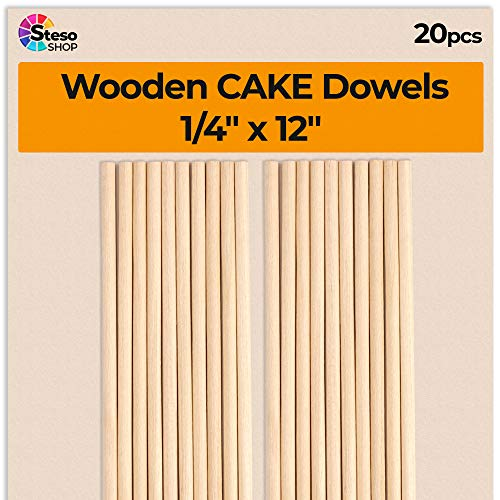 Cake Dowels for Wedding Cake - Sturdy Wooden Dowels 1/4 x 12inch - 20 pcs Cake Dowels Rods - Wooden Dowels 1 4