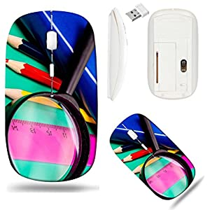 Liili Wireless Mouse White Base Travel 2.4G Wireless Mice with USB Receiver, Click with 1000 DPI for notebook, pc, laptop, computer, mac book Colorful pencils lens book and ruler on colored paper Imag