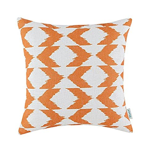 CaliTime Cushion Cover Throw Pillow Case Shell, Ikat Malposed Zigzag Stripes Geometric Figures 18 X 18 Inches, Orange