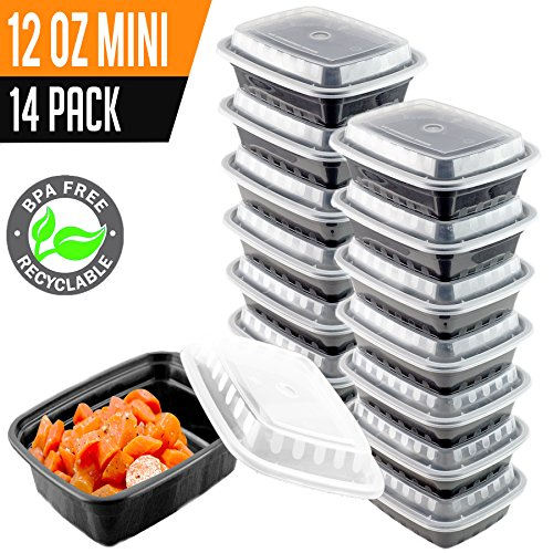 14 Pack- Chefible 12 oz Small MINI Food Storage or Bento Container, Meal Prep, Durable, BPA-free, Reusable, Washable, Microwavable, Perfect for Diet Portion Control!