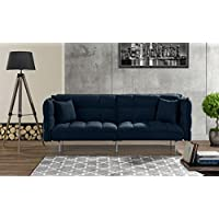 Modern Plush Tufted Velvet Fabric Splitback Living Room Sleeper Futon (Navy)
