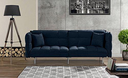 Modern Plush Tufted Velvet Fabric Splitback Living Room Sleeper Futon (Navy)