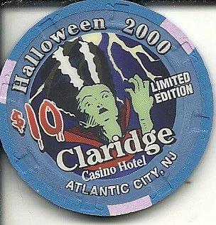 ($10 claridge 2000 halloween mummy obsolete casino chip atlantic city new)
