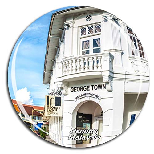 Eddie Family George - George Town Pengang Malaysia Fridge Magnet 3D Crystal Glass Tourist City Travel Souvenir Collection Gift Strong Refrigerator Sticker