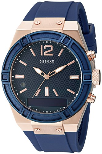 GUESS Women's CONNECT Smartwatch with Amazon Alexa and Silicone Strap Buckle - iOS and Android Compatible -  Blue