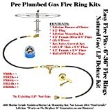 "FR12K++: 12"" FIRE RING COMPLETE DELUXE KIT FOR PREVIOUSLY PLUMBED NATURAL GAS OR PROPANE/ LP FIRE PIT KIT – BURNER, MOUNTING KIT, 3′ HOSES & FITTINGS W/ KEY VALVE CONTROL ASSEMBLY"