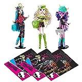 Mattel Monster High Dolls - 3 Brand-Boo Students - Batsy Claro Kjersti Trollsøn and Isi Dawndancer with FREE gift bags