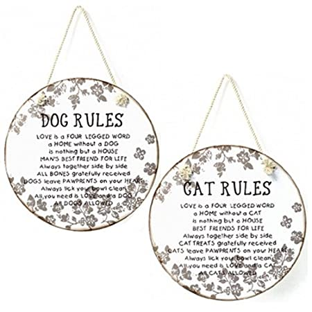 GLASS ROUND CAT DOG PLAQUE QUOTE HOME HANGING MESSAGE GIFT