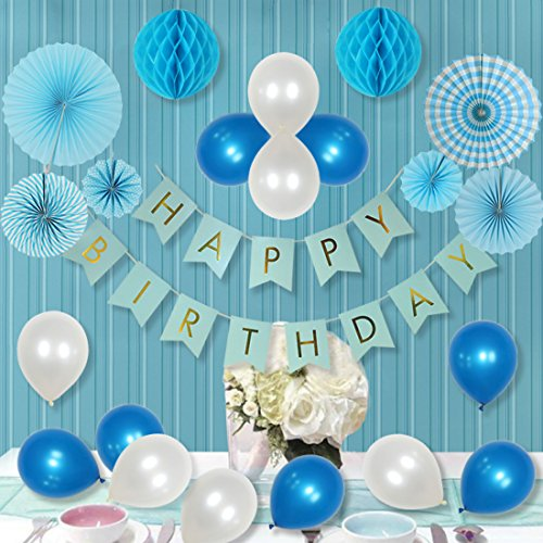 34 Pcs White and Blue Party Decorations for Boy, Paper Fan flower, Happy Birthday Banner, Paper Honeycomb Balls ,Balloons For Birthday, Boy 1 st Birthday Party Decorations (Statement Banner)
