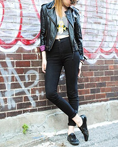Mujer Cintura Alta Pantalones Jeans Elástico Flacos Vaqueros Leggings Negro