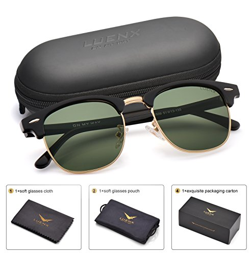 LUENX Men Clubmaster Polarized Sunglasses Women UV 400 Protection Grey Lens Black Retro Classic Frame 51MM,with - Sunglasses Man Big