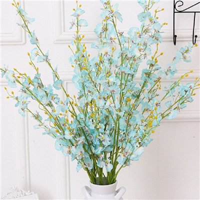 Silk Petals Baby Dresses - Nyalex 5 Folks Artificial Buttterfly Orchids Blossom Branch Fake Silk Flower Tree Wedding Home Party Decor Decorative [Blue]