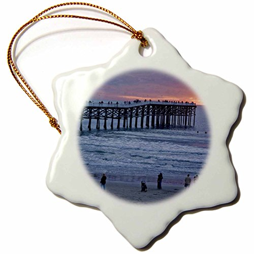 Orn Crystal (3dRose orn_88151_1 CA San Diego Crystal Pier in San Diego Brent Bergherm Snowflake Decorative Hanging Ornament, Porcelain, 3-Inch)