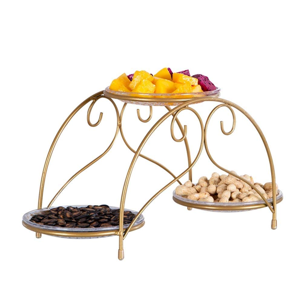 Diversified Fruit Serving Tray Stand, Metal Food Storage Counter Organization Fruit Storage Tray Bowl Acrylic Tray Plate (color : A)