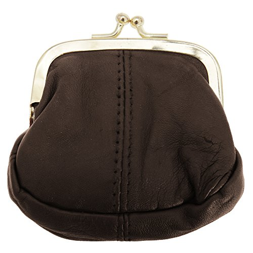 One Clasp (Womens/Ladies Soft Leather Coin Purse With Metal Clasp (One Size) (Brown))