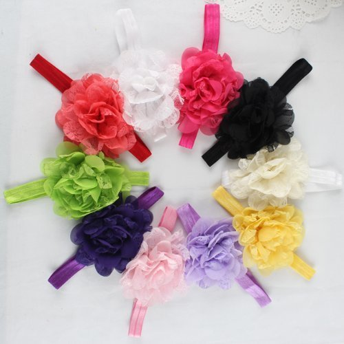 Price comparison product image Hottest Baby Girls Flowery Headbands,FuzzyGreen Pretty Toddler Girls Chiffon Flower Headband Hair Flower Photography (10 pieces)