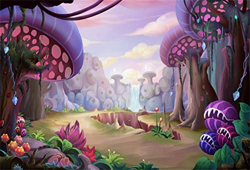 Laeacco Fantastic Evil Mushroom Forest Backdrop Vinyl 7x5ft Cartoon Weird Corpse Flowers Cracked Earth with Sharp Teeth Strange Mountains Background Kids Child Baby Birthday Party Banner Wallpaper
