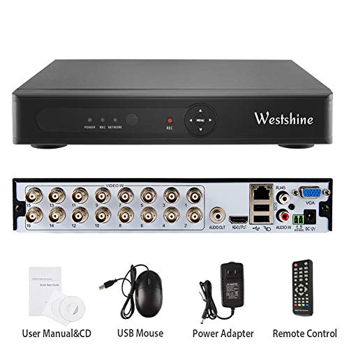 Video System Controller - Westshine 16 Channel 1080N DVR,5 in 1 Hybrid (AHD/TVI/CVI/Analog/IP) Home Security System, H.265 HD Surveillance Video Recorder, Support Onvif Motion Detection, Email Alert(NO HDD)(with Controller)