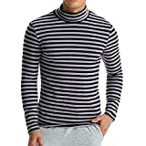 Pervobs Long Sleeve Shirts, Big Promotion! Men's Autumn Long Sleeve Striped Stretchy Loose Turtleneck T-shirt Top Blouse (M, Dark Gray)