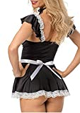 Happyjiu Womens Sexy French Maid Outfit Cosplay Lace Outfit Sets