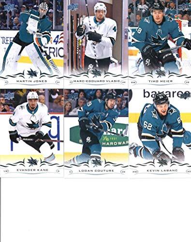 2018-19 Upper Deck Series 1 and 2 Hockey Complete San Jose Sharks Team Set of 13 Cards: Kevin Labanc(#146), Logan Couture(#147), Evander Kane(#148), Timo Meier(#149), Marc-Edouard Vlasic(#150), Martin Jones(#151), Erik Karlsson(#398), Brent Burns(#399), Joe Pavelski(#400), Joe Thornton(#401), Tomas Hertl(#402), Justin Braun(#403), Joonas Donskoi(#404)