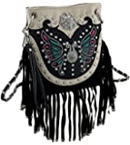 Embroidered Butterfly and Fringe Western Style Cross Body Purse