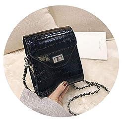 Crocodile Pattern Crossbody Mini Bags Handbag Pu Leather Shoulder Bags Black 16cm X 18cm X 8cm