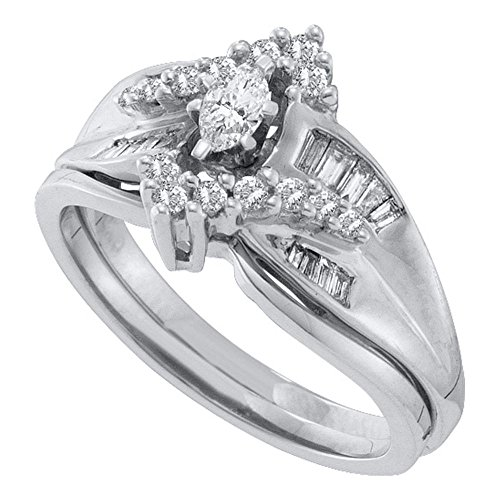 Size 8.25 - 14K White Gold Marquise, Round & Baguette Diamond Bridal Engagement Ring & Matching Wedding Band Two Piece Set - Prong Set Solitaire Center Setting Shape with Channel Set Side Stones - Curved Notched Band (1/2 cttw.) ()