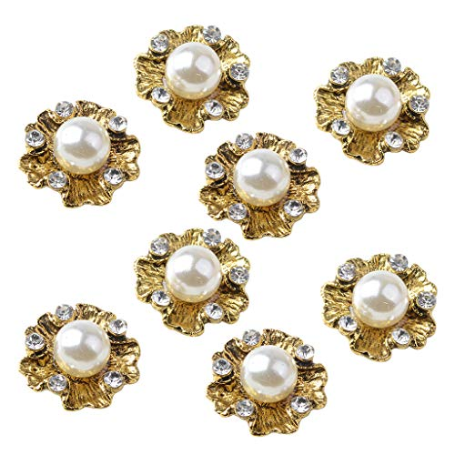 Prettyia 10 Pieces Golden Rhinestone Pearl Flower Embellishments Button Flatback Crystal Buttons Sewing DIY Clothing, Bags,Dress, Phone Case, Wedding Decor