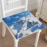 Mikihome Outdoor Chair Cushion Ski Slope Winter Sport Telfer and Snowboarding White Blue Comfortable, Indoor, Dining Living Room, Kitchen, Office, Den, Washable 18''x18''x2pcs