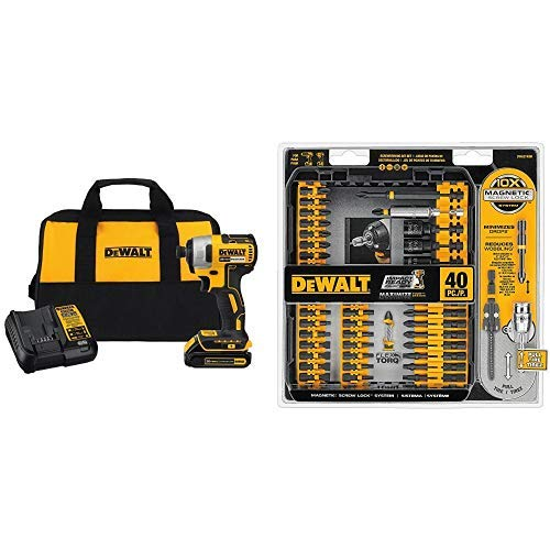 DEWALT DCF787C1 Cordless Impact Driver Kit (Includes Battery and Charger) with DWA2T40IR IMPACT READY FlexTorq Screw Driving Set, 40-Piece