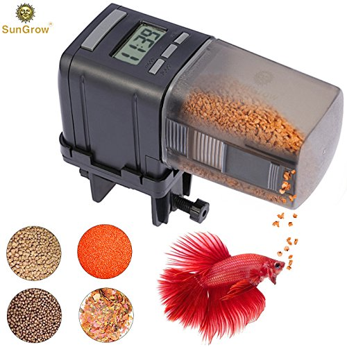 51MadZ8a3pL - SunGrow Automatic Fish Feeder - Easy to Install on Fish Tank - Never Miss Any Feeding time - Ideal for Vacation, Weekend Getaway