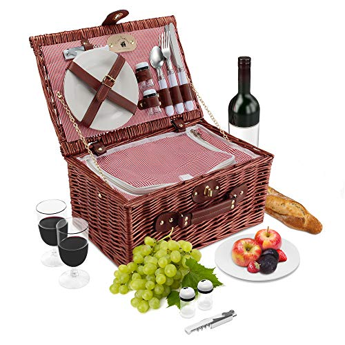 Traditions Ceramic - Wicker Picnic Basket Set | 2 Person Deluxe Vintage Style Woven Willow Picnic Hamper | Built-in Cooler | Ceramic Plates, Stainless Steel Silverware, Wine Glasses, S/P Shakers, Bottle Opener (Cherry)