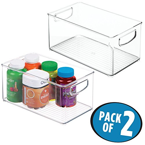 mDesign Bathroom Vitamin Storage Organizer Bin with Built-in Handles for Vitamins, Supplements, Serums, Essential Oils, Medical Supplies, First Aid Supplies - Pack of 2, Clear