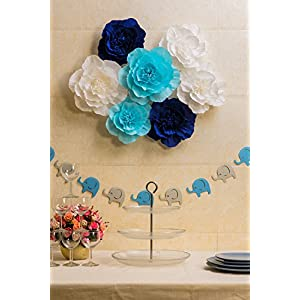 Paper Flower Decorations, Giant Paper Flowers (Navy Blue, Light Blue, White, Set of 7), Large Paper Flowers, Crepe Paper Flowers for Wedding, Nursery Wall Decoration, Baby Shower, Bridal Shower 2