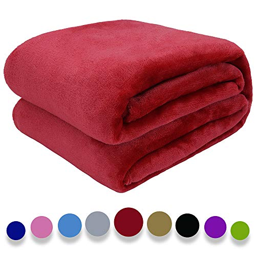 """Auchen Flannel Fleece Blanket Throw Red Home Blanket,Fluffy Blanket Warm Bed Throws for Sofa and Pet,Exquisite Comfortable Red Flannel Fleece Blanket 230(90"""") x270(108"""") cm"""