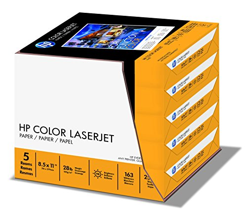28 Lb Case (HP Paper, Color LaserJet Poly Wrap, 28lb,  8.5 x 11, 98 Bright, 2500 Sheets / 5 Ream Case (205050C) Made In The)