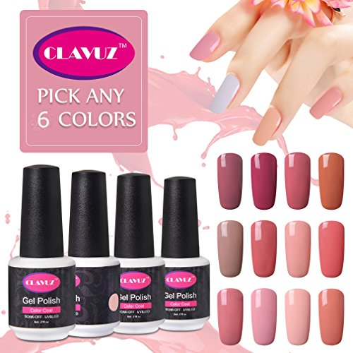 Salon Gel Polish Gel Nail Color Starter Kit: CLAVUZ Nail Gel Polish Pick Any 6 Colors Collection Beauty