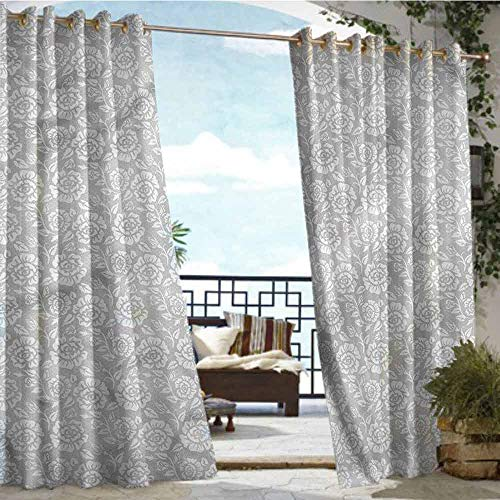 Price comparison product image Andrea Sam Outdoor- Free Standing Outdoor Privacy Curtain Grey, Vintage Inspiring Flowers, W84 xL84 for Front Porch Covered Patio Gazebo Dock Beach Home