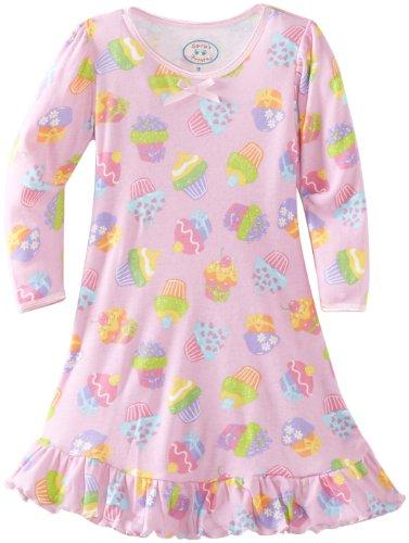 Saras Prints Girls Cupcakes - Sara's Prints Little Girls' Puffed Sleeve Nightgown, Cute Cupcakes, 3
