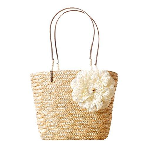 Zhhlaixing Casual Delicate Small Linen Woven Bag Handbag Candy Color Beach bags Bolsa hermosa especial for Womens Beige