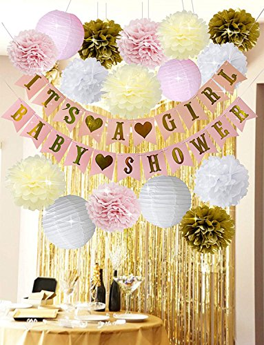 Pink and Gold Baby Shower Decorations For Girl BABY SHOWER IT'S A GIRL Banner Tissue Paper Pom Poms Flowers Paper Lanterns Tissue Paper Tassel Gold Foil Curtains Metallic Fringe Curtains Kit -