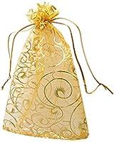 "100pcs Champagne Eyelash Organza Drawstring Pouches Jewelry Party Wedding Favor Gift Bags 3.5""x4.3"""