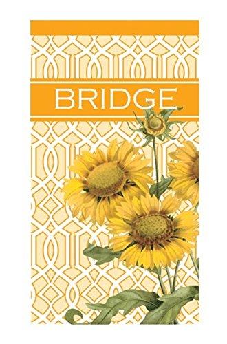Caskata Studios Contact Bridge Game, 40-Sheet Score Pad, Trellis Sunflower